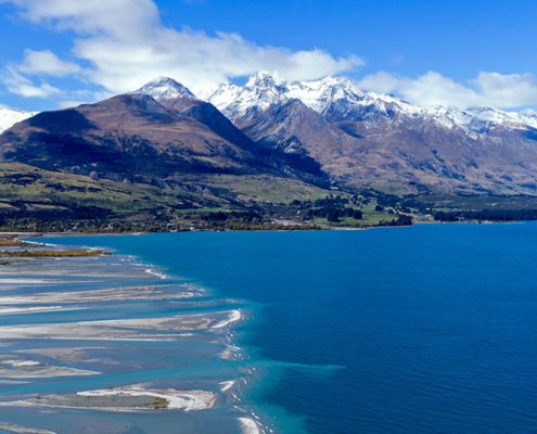 Outlook from Kinloch Lodge the head of Lake Wakatipu and the mouth of the Dart River